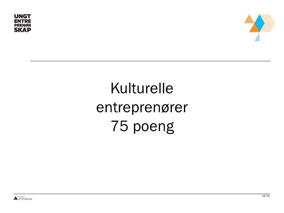 Kulturelle entreprenører 75 poeng