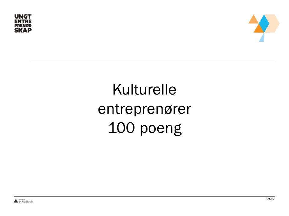 Kulturelle entreprenører 100 poeng