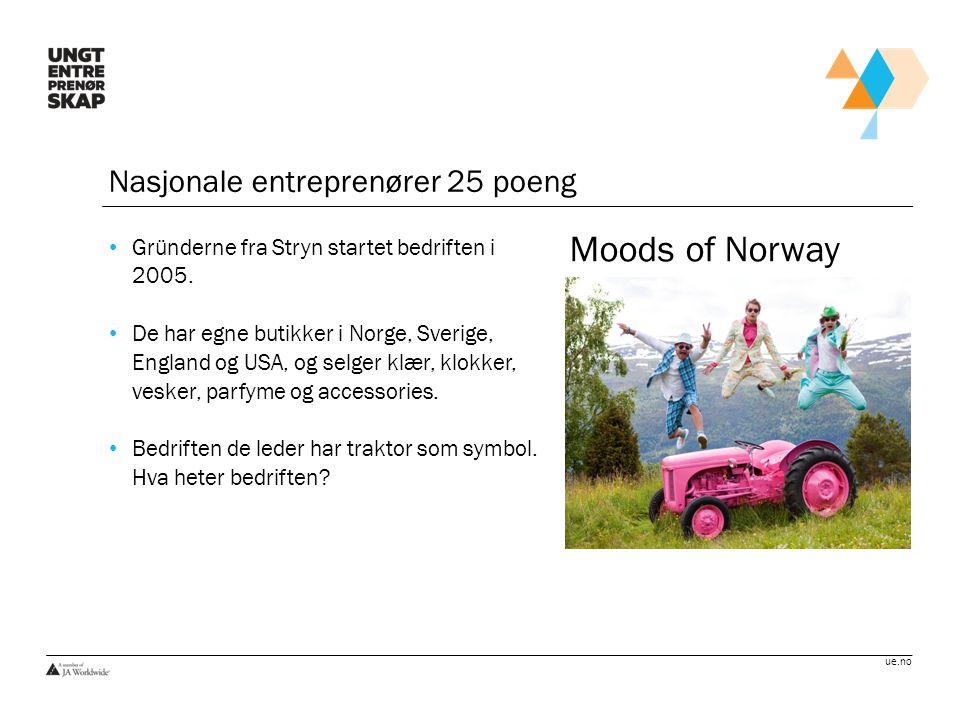 Moods of Norway Nasjonale entreprenører 25 poeng