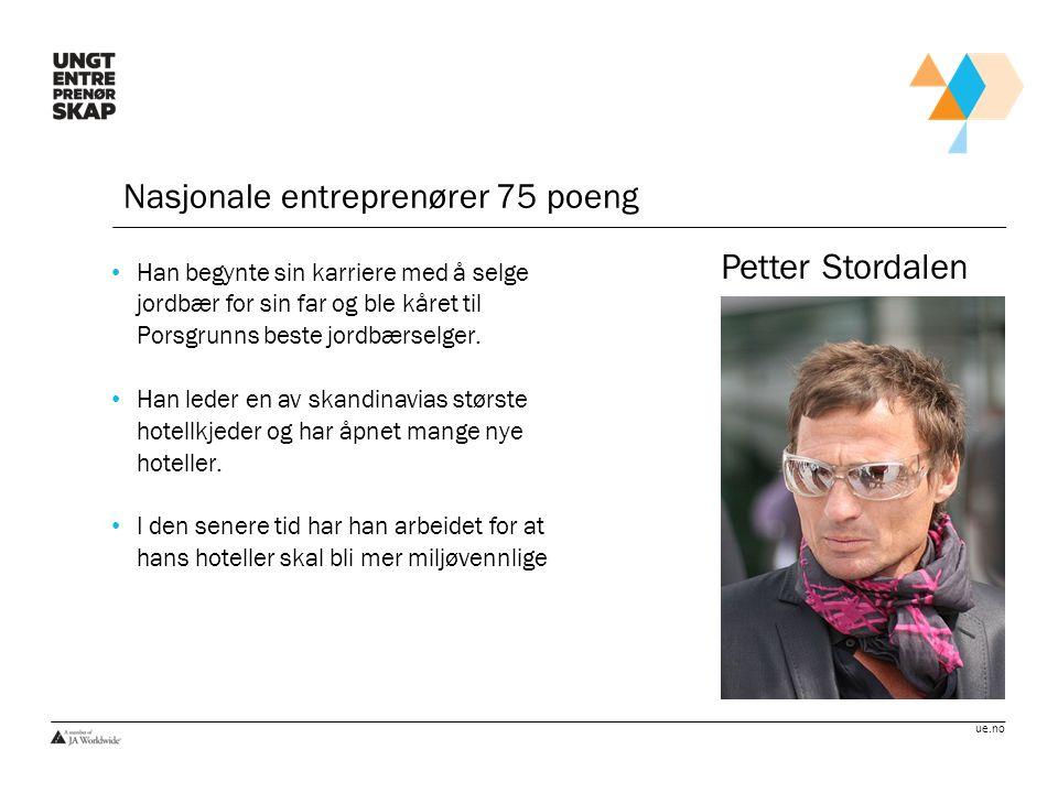 Petter Stordalen Nasjonale entreprenører 75 poeng