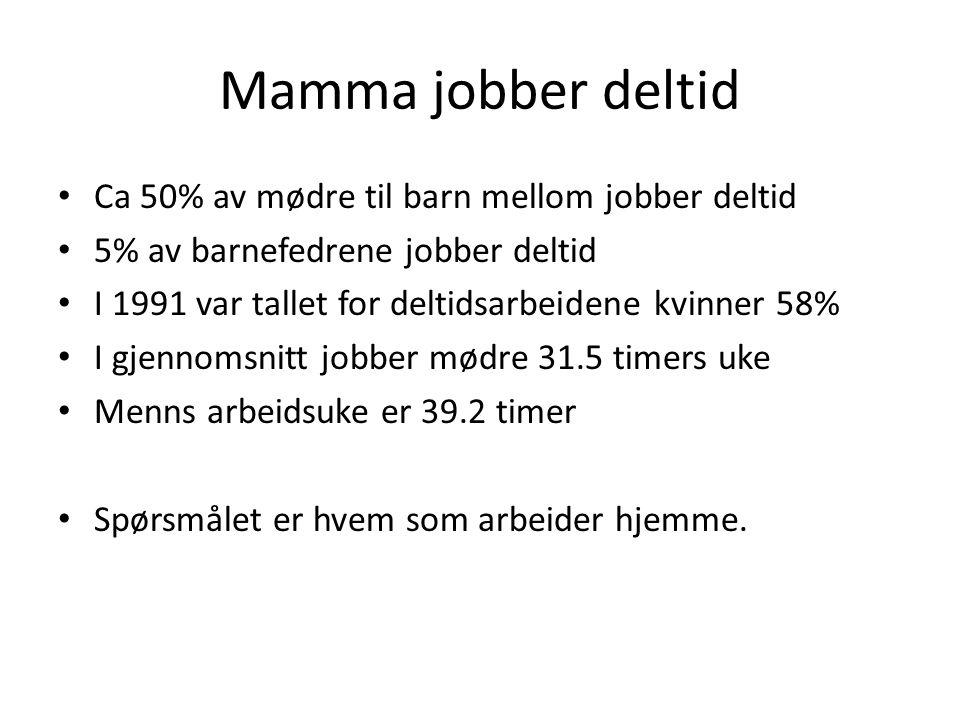 Mamma jobber deltid Ca 50% av mødre til barn mellom jobber deltid