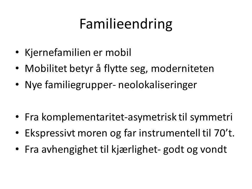 Familieendring Kjernefamilien er mobil