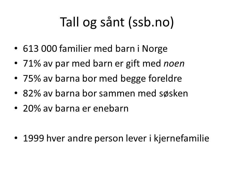 Tall og sånt (ssb.no) 613 000 familier med barn i Norge