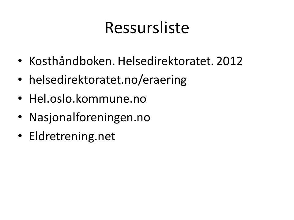 Ressursliste Kosthåndboken. Helsedirektoratet. 2012