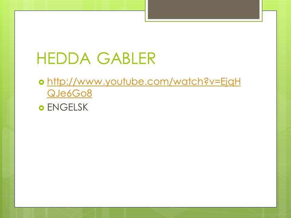 HEDDA GABLER http://www.youtube.com/watch v=EjqHQJe6Go8 ENGELSK