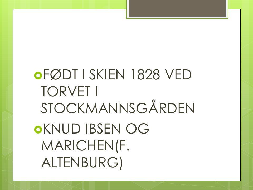 FØDT I SKIEN 1828 VED TORVET I STOCKMANNSGÅRDEN