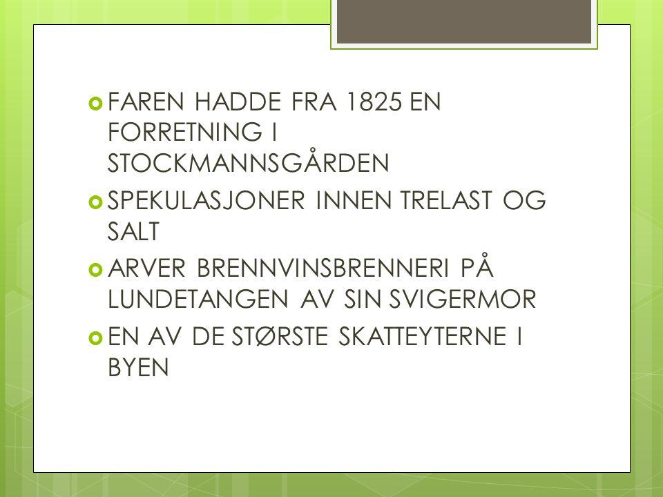 FAREN HADDE FRA 1825 EN FORRETNING I STOCKMANNSGÅRDEN