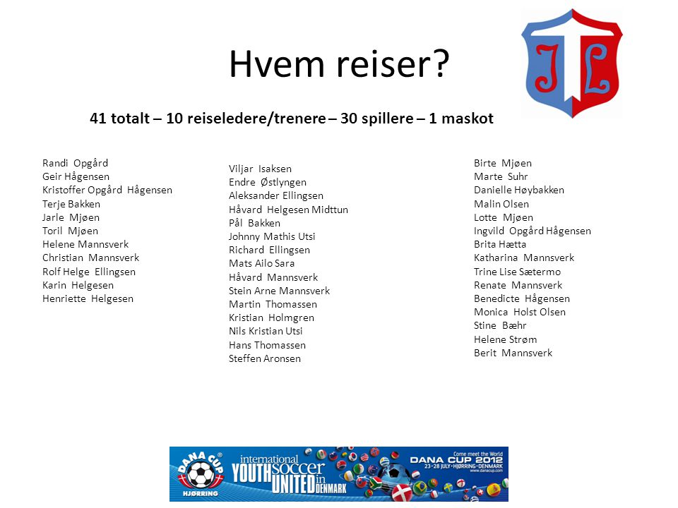 Hvem reiser 41 totalt – 10 reiseledere/trenere – 30 spillere – 1 maskot. Randi Opgård. Geir Hågensen.