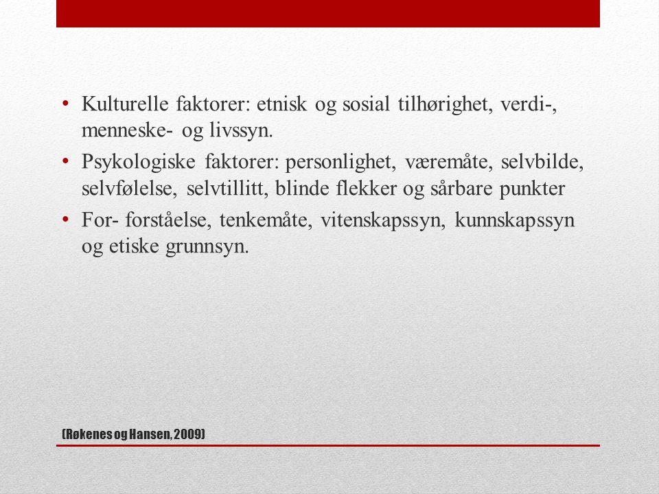 Kulturelle faktorer: etnisk og sosial tilhørighet, verdi-, menneske- og livssyn.