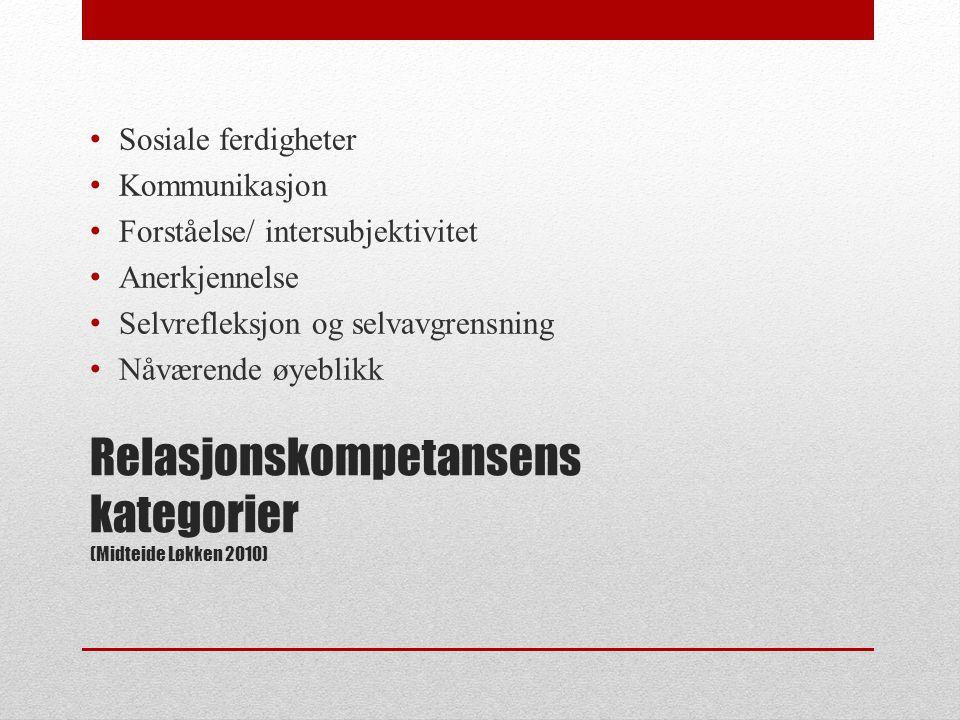 Relasjonskompetansens kategorier (Midteide Løkken 2010)