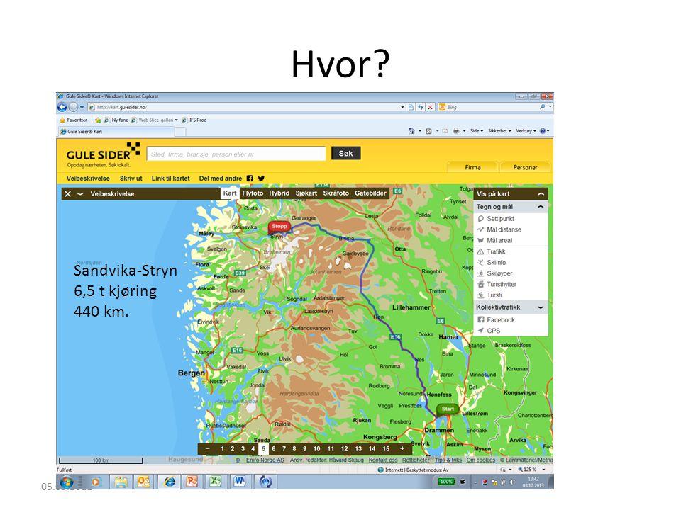 Hvor Sandvika-Stryn 6,5 t kjøring 440 km. 05.09.2011