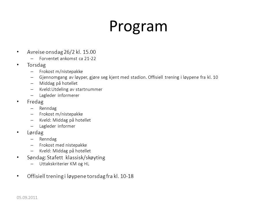 Program Avreise onsdag 26/2 kl. 15.00 Torsdag Fredag Lørdag