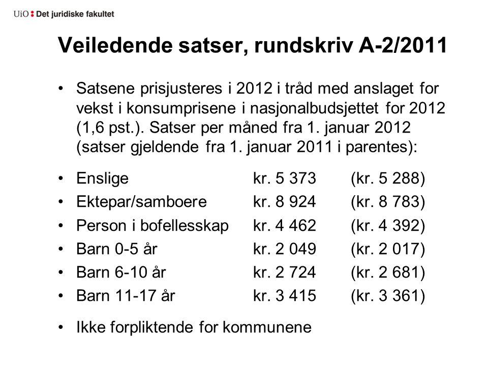 Veiledende satser, rundskriv A-2/2011