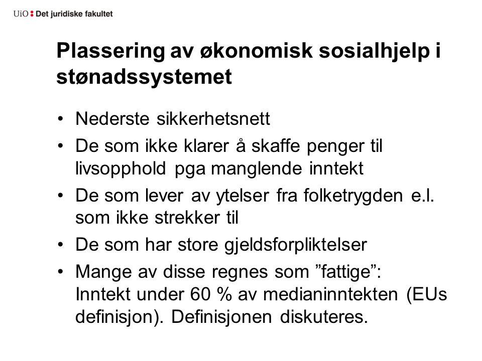 Plassering av økonomisk sosialhjelp i stønadssystemet