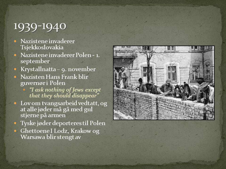 1939-1940 Nazistene invaderer Tsjekkoslovakia
