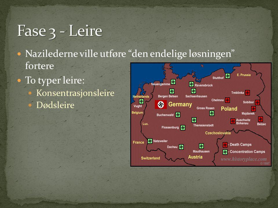 Fase 3 - Leire Nazilederne ville utføre den endelige løsningen fortere. To typer leire: Konsentrasjonsleire.