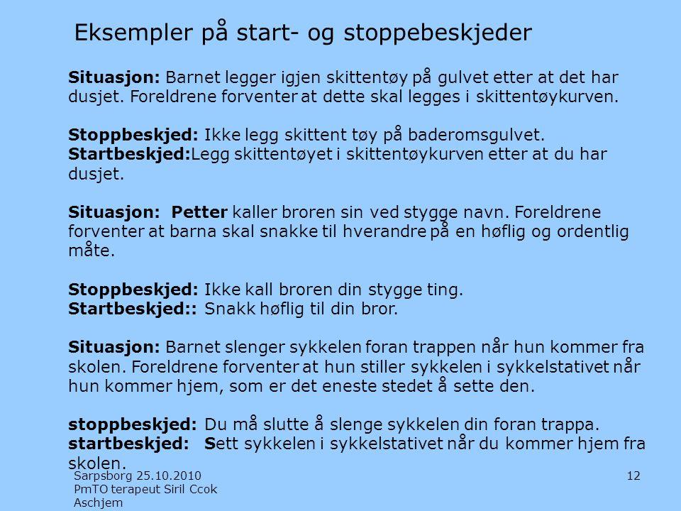 Eksempler på start- og stoppebeskjeder