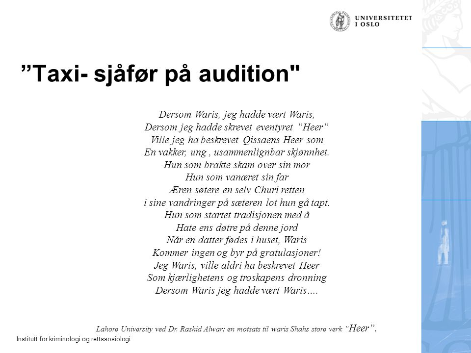 Taxi- sjåfør på audition