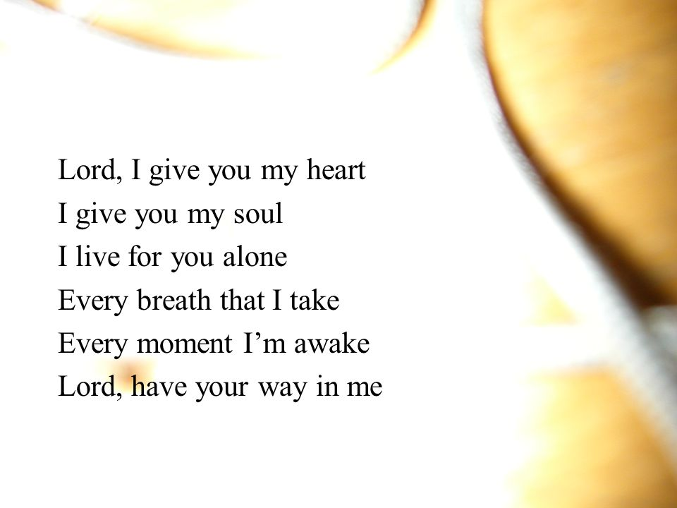 Lord, I give you my heart I give you my soul. I live for you alone. Every breath that I take. Every moment I'm awake.