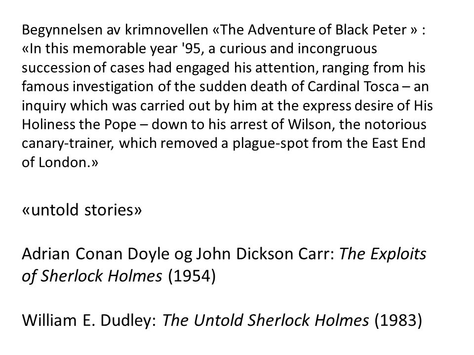 William E. Dudley: The Untold Sherlock Holmes (1983)