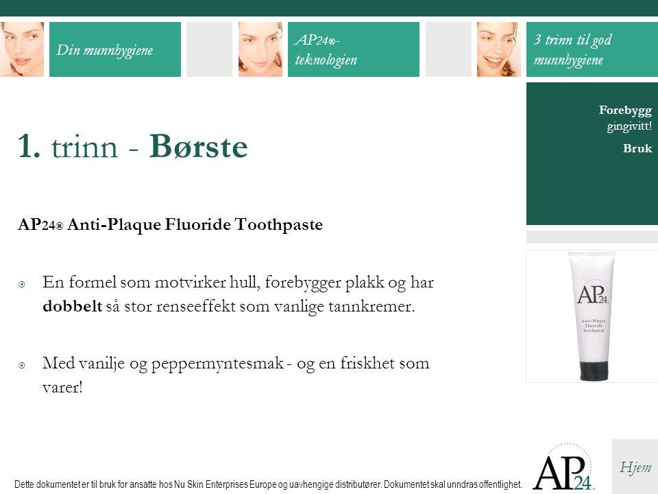 1. trinn - Børste AP24® Anti-Plaque Fluoride Toothpaste