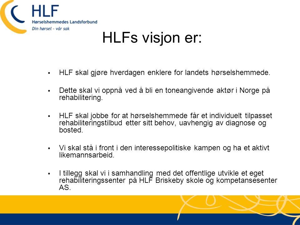 HLFs visjon er: HLF skal gjøre hverdagen enklere for landets hørselshemmede.