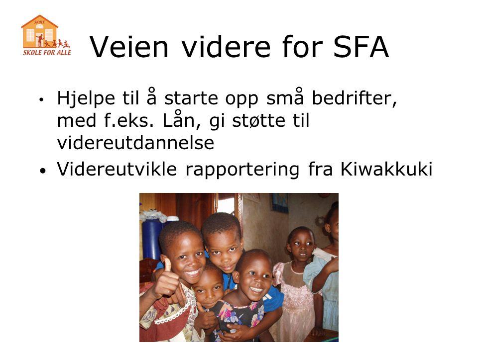 Veien videre for SFA Hjelpe til å starte opp små bedrifter, med f.eks. Lån, gi støtte til videreutdannelse.