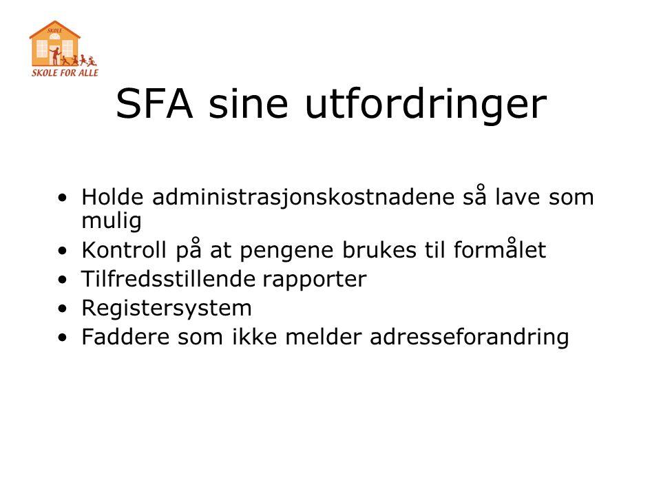 SFA sine utfordringer Holde administrasjonskostnadene så lave som mulig. Kontroll på at pengene brukes til formålet.