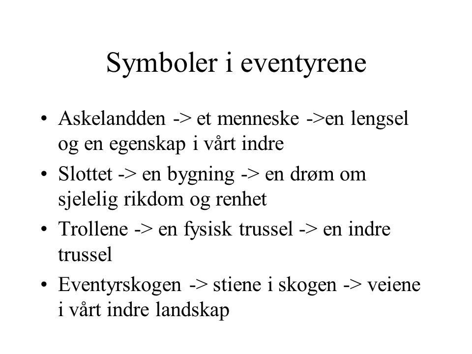 Symboler i eventyrene Askelandden -> et menneske ->en lengsel og en egenskap i vårt indre.