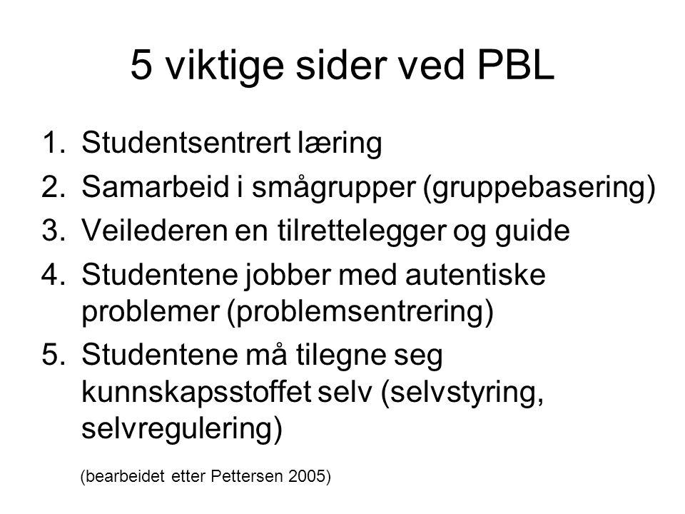 5 viktige sider ved PBL Studentsentrert læring