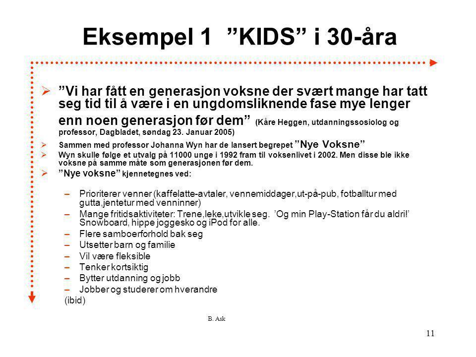 Eksempel 1 KIDS i 30-åra
