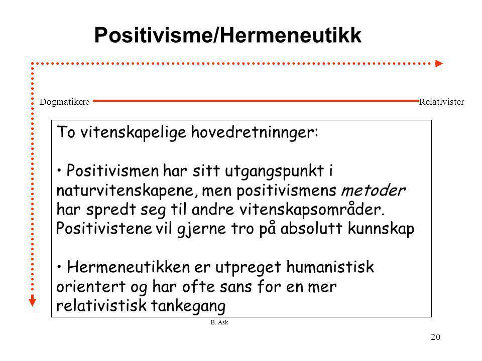 Positivisme/Hermeneutikk