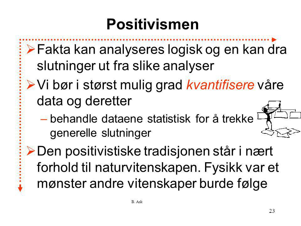 Positivismen Fakta kan analyseres logisk og en kan dra slutninger ut fra slike analyser.