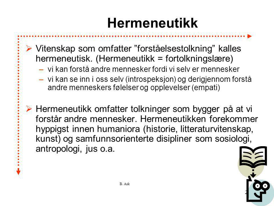Hermeneutikk Vitenskap som omfatter forståelsestolkning kalles hermeneutisk. (Hermeneutikk = fortolkningslære)