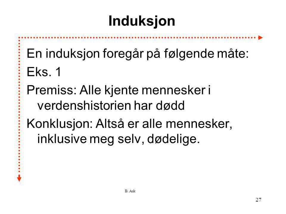 Induksjon En induksjon foregår på følgende måte: Eks. 1