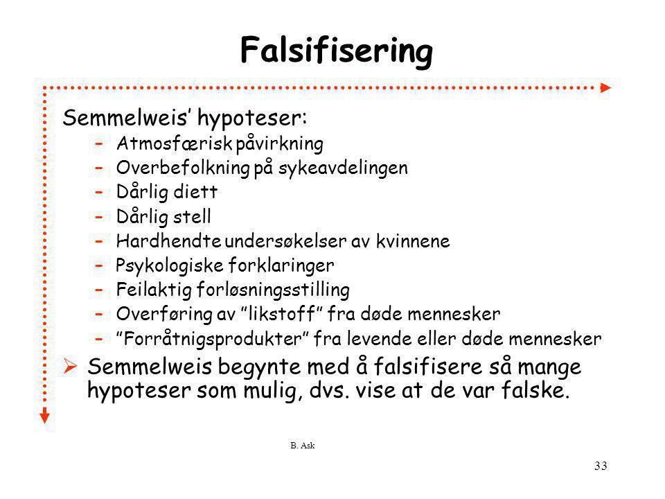 Falsifisering Semmelweis' hypoteser: