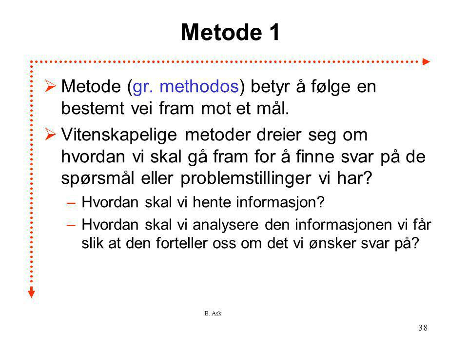 Metode 1 Metode (gr. methodos) betyr å følge en bestemt vei fram mot et mål.