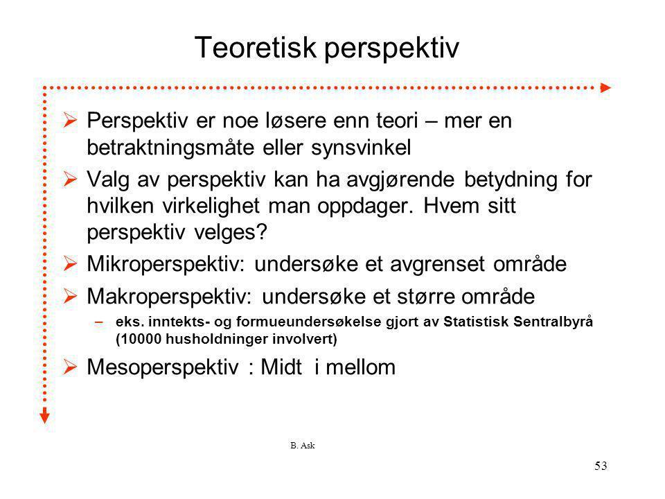 Teoretisk perspektiv Perspektiv er noe løsere enn teori – mer en betraktningsmåte eller synsvinkel.