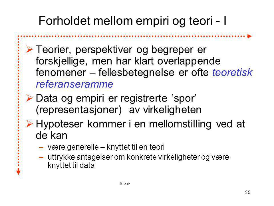 Forholdet mellom empiri og teori - I