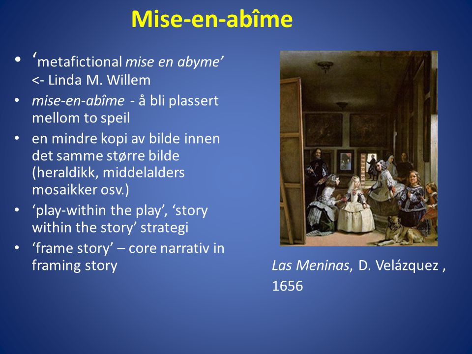 Mise-en-abîme 'metafictional mise en abyme' <- Linda M. Willem