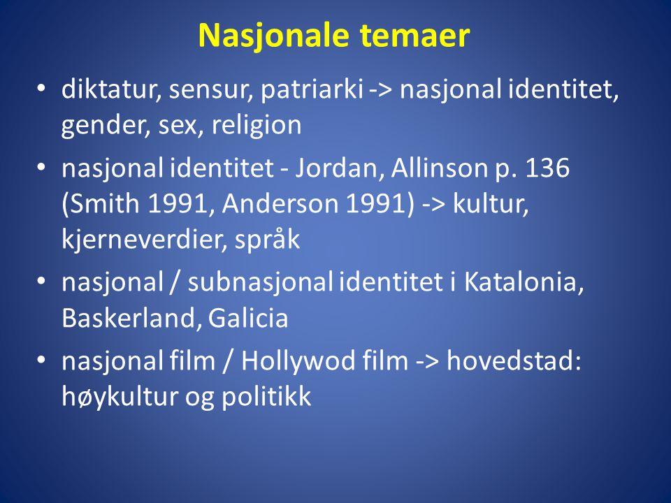 Nasjonale temaer diktatur, sensur, patriarki -> nasjonal identitet, gender, sex, religion.