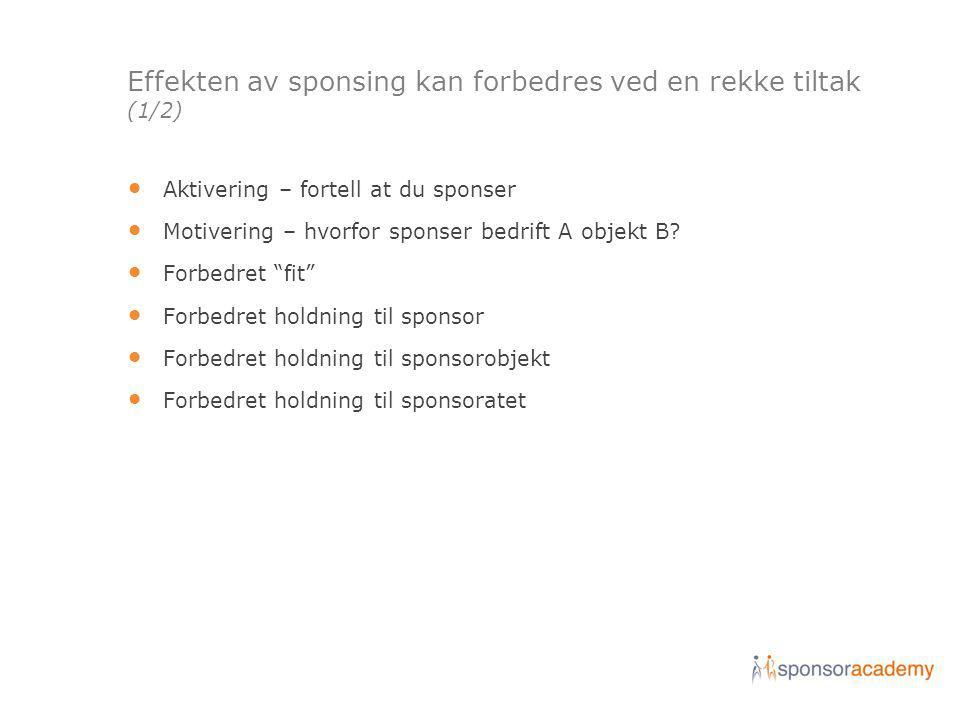 Effekten av sponsing kan forbedres ved en rekke tiltak (1/2)