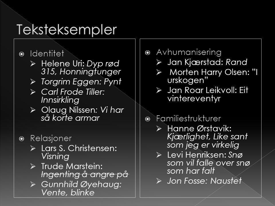 Teksteksempler Identitet Avhumanisering
