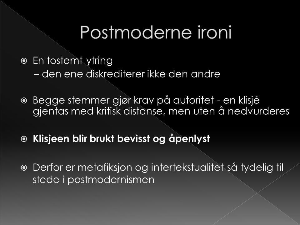 Postmoderne ironi En tostemt ytring