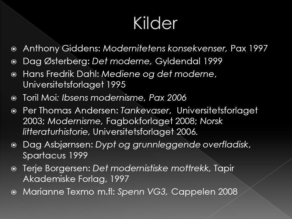 Kilder Anthony Giddens: Modernitetens konsekvenser, Pax 1997