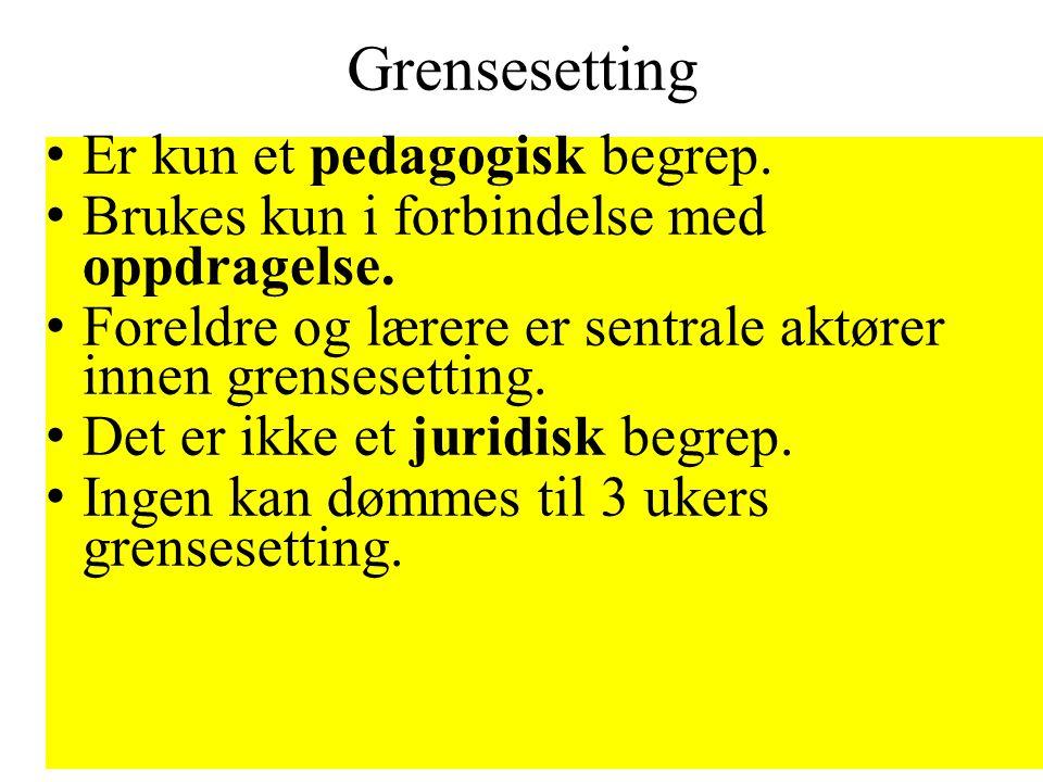 Grensesetting Er kun et pedagogisk begrep.