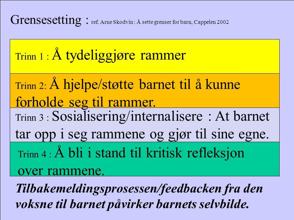 Grensesetting : ref. Arne Skodvin : Å sette grenser for barn, Cappelen 2002
