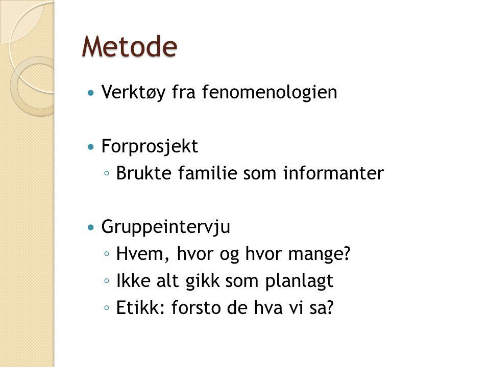 Metode Verktøy fra fenomenologien Forprosjekt