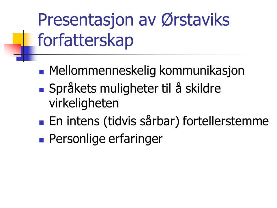 Presentasjon av Ørstaviks forfatterskap
