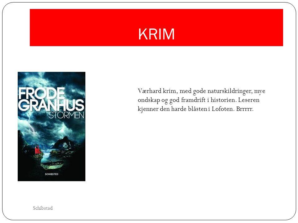 KRIM Værhard krim, med gode naturskildringer, mye ondskap og god framdrift i historien. Leseren kjenner den harde blåsten i Lofoten. Brrrrr.
